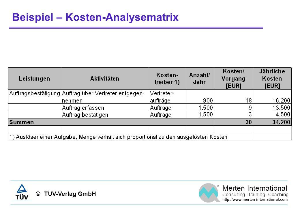 Beispiel – Kosten-Analysematrix