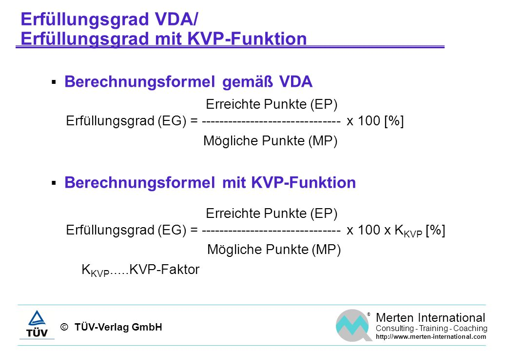 Erfüllungsgrad VDA/ Erfüllungsgrad mit KVP-Funktion