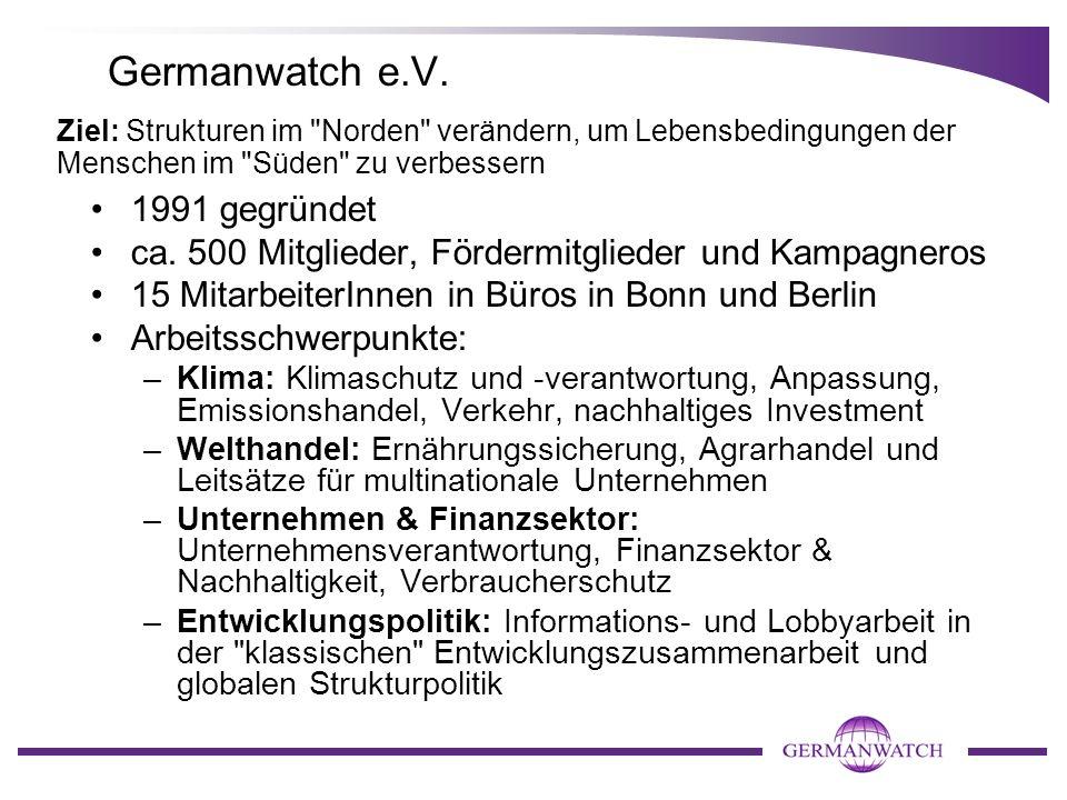 Germanwatch e.V. 1991 gegründet