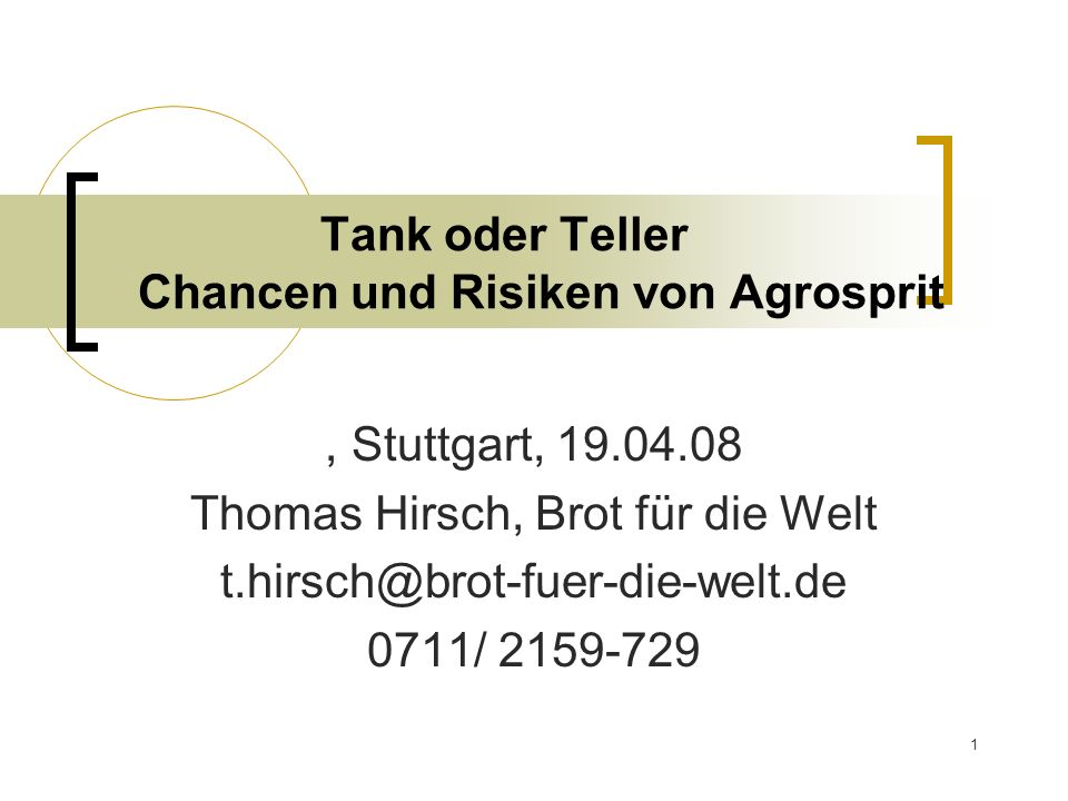 Tank oder Teller Chancen und Risiken von Agrosprit