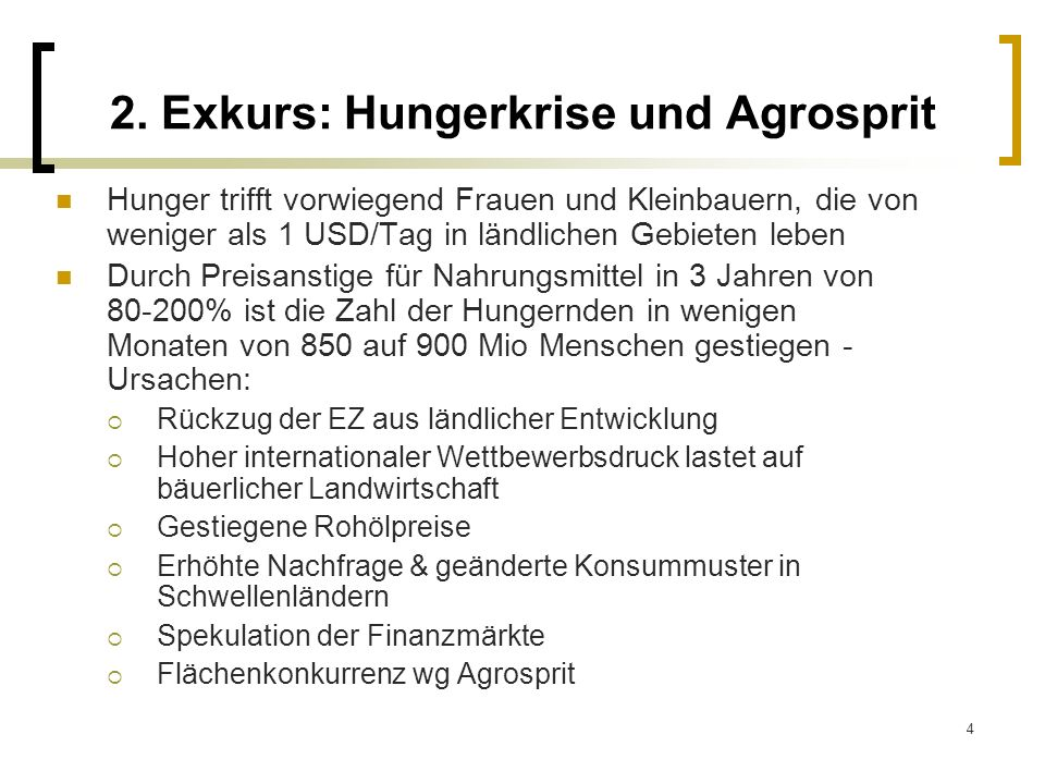 2. Exkurs: Hungerkrise und Agrosprit