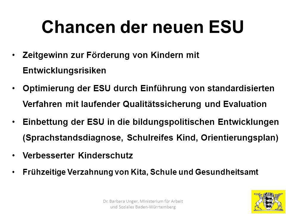 Chancen der neuen ESU Zeitgewinn zur Förderung von Kindern mit Entwicklungsrisiken.