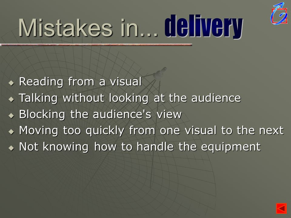 Mistakes in... delivery Reading from a visual