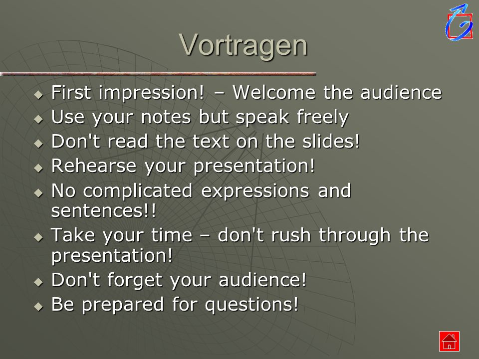 Vortragen First impression! – Welcome the audience