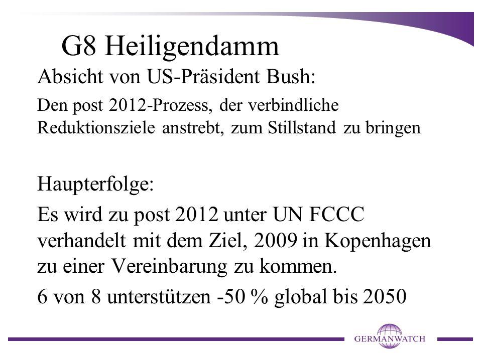G8 Heiligendamm Absicht von US-Präsident Bush: Haupterfolge: