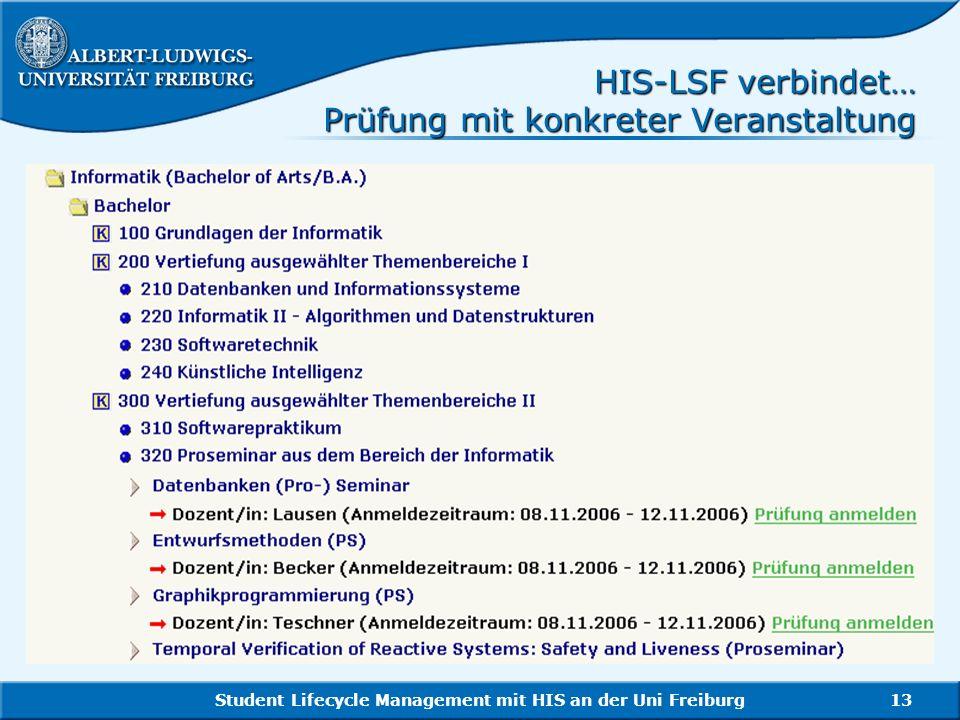 HIS-LSF verbindet… Prüfung mit konkreter Veranstaltung