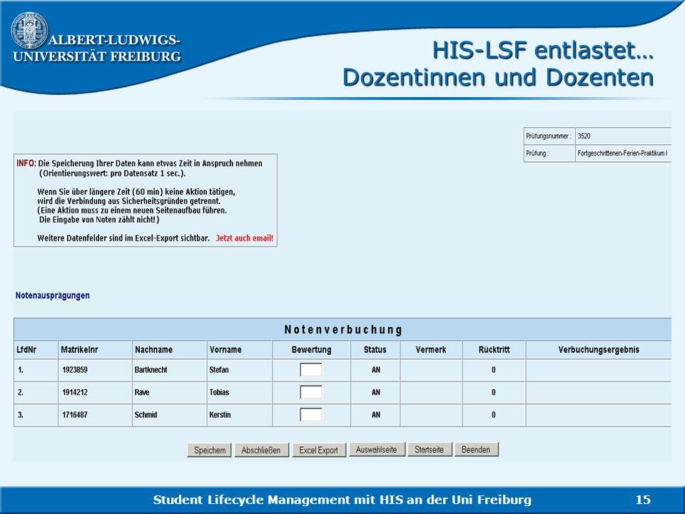 HIS-LSF entlastet… Dozentinnen und Dozenten
