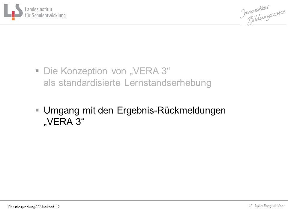 """Die Konzeption von """"VERA 3 als standardisierte Lernstandserhebung"""