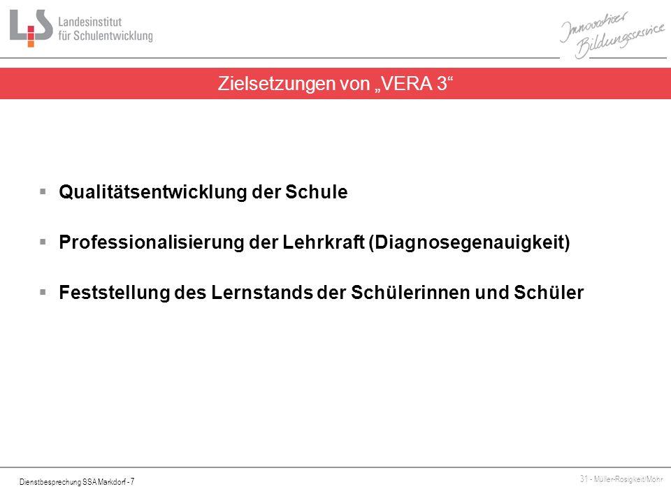 """Zielsetzungen von """"VERA 3"""