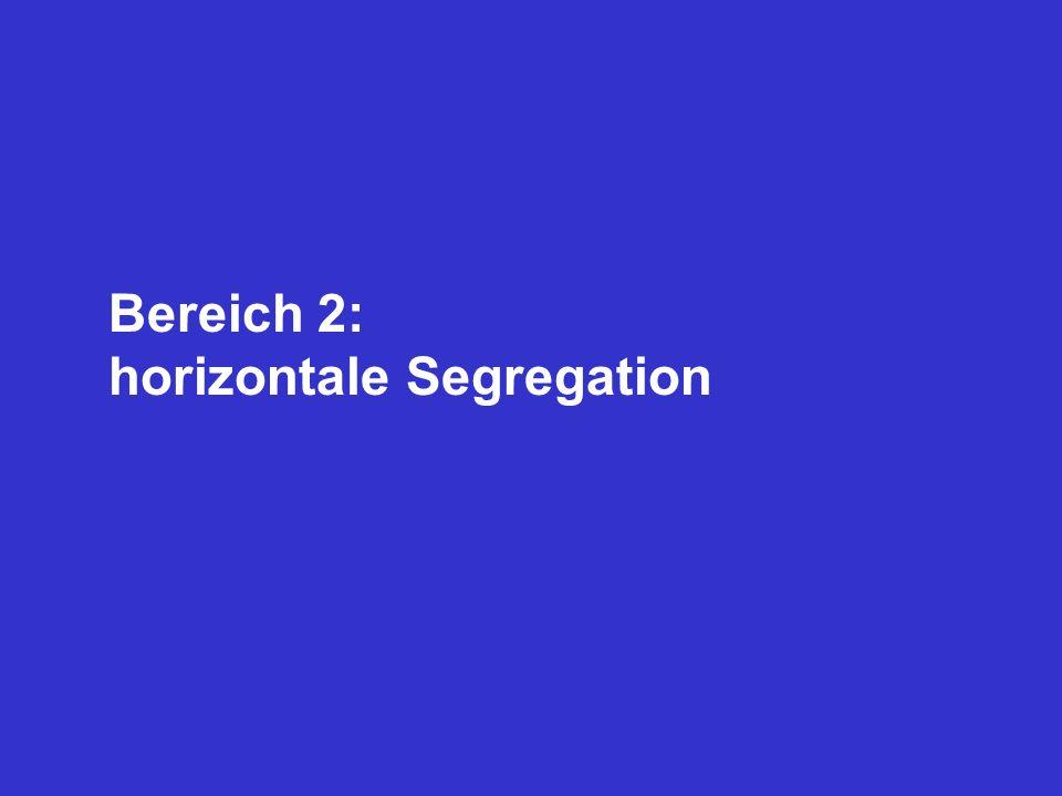 Bereich 2: horizontale Segregation