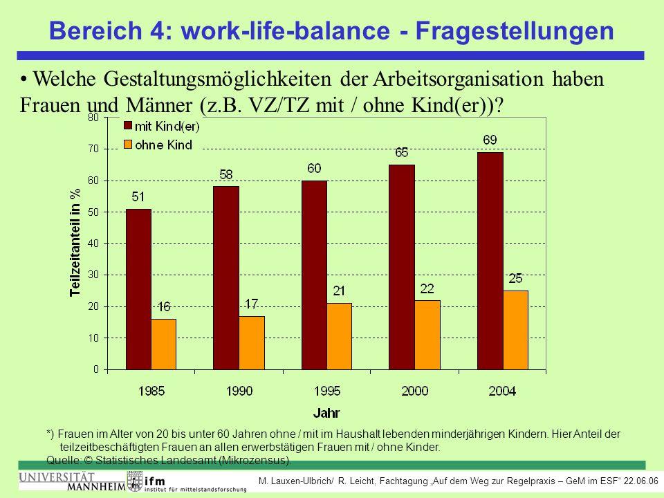 Bereich 4: work-life-balance - Fragestellungen