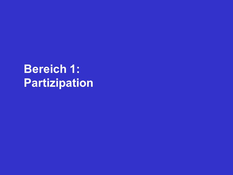 Bereich 1: Partizipation