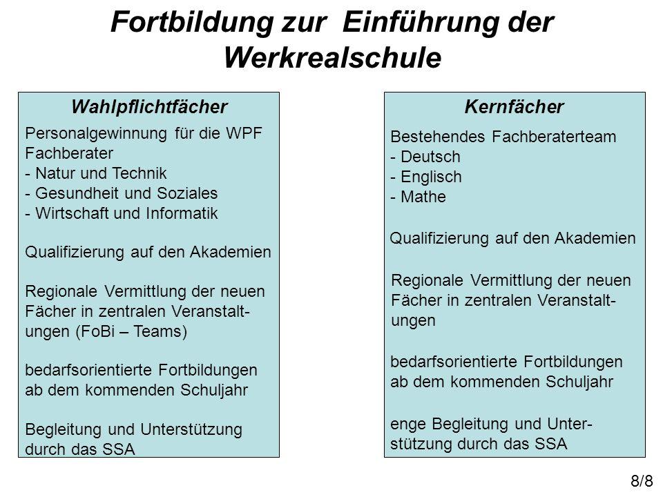 Fortbildung zur Einführung der Werkrealschule