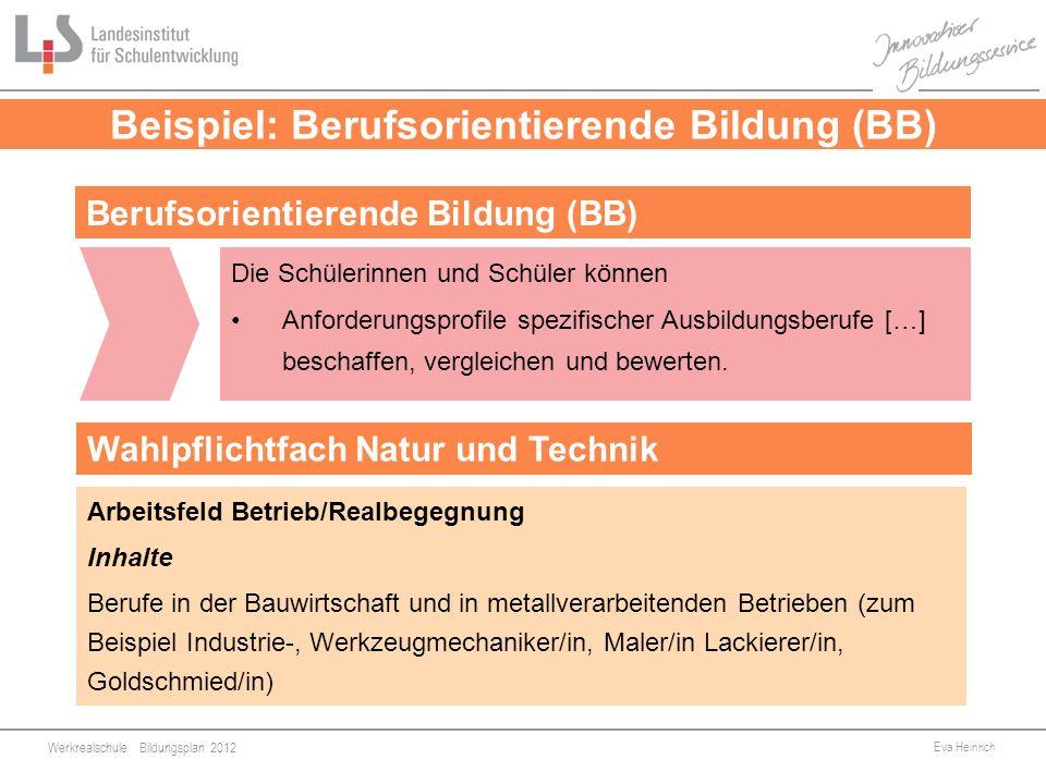 Beispiel: Berufsorientierende Bildung (BB)