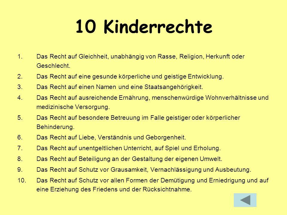 10 Kinderrechte Das Recht auf Gleichheit, unabhängig von Rasse, Religion, Herkunft oder Geschlecht.