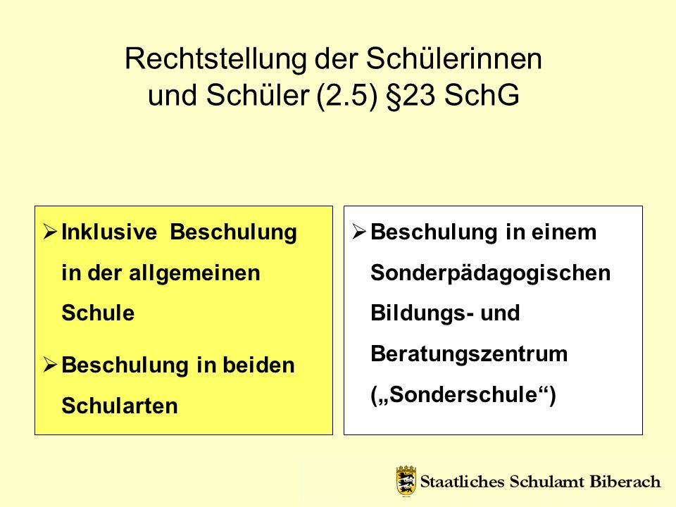 Rechtstellung der Schülerinnen und Schüler (2.5) §23 SchG