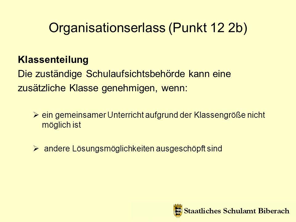 Organisationserlass (Punkt 12 2b)