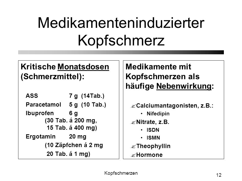 Medikamenteninduzierter Kopfschmerz