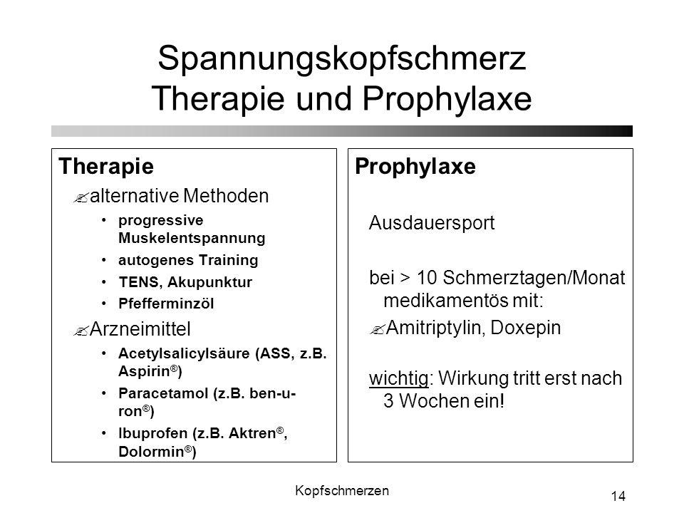 Spannungskopfschmerz Therapie und Prophylaxe