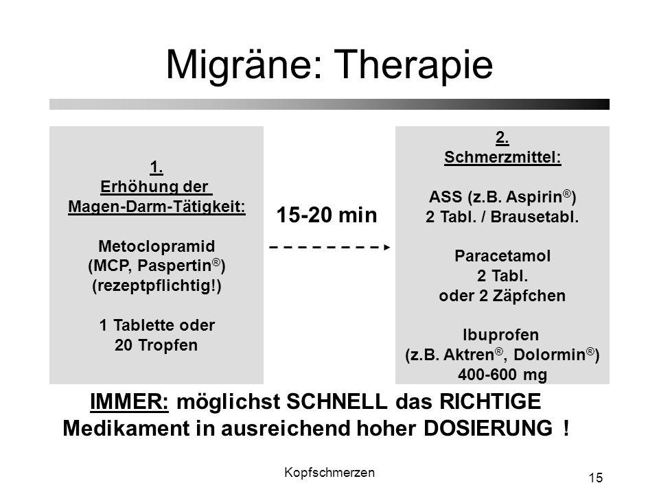 Migräne: Therapie 15-20 min
