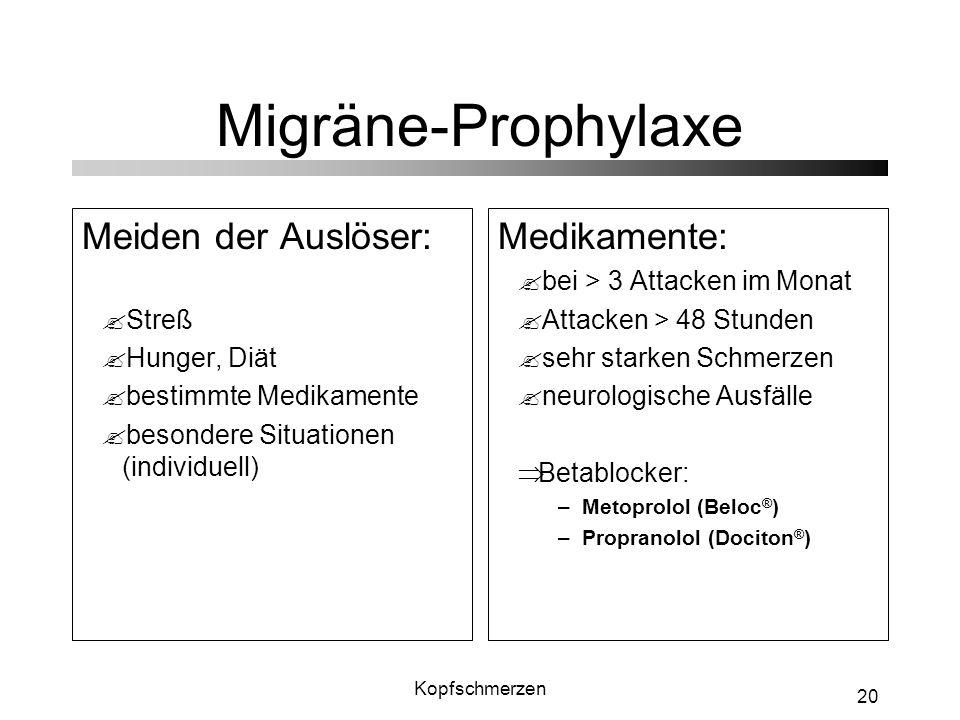 Migräne-Prophylaxe Meiden der Auslöser: Medikamente: Streß