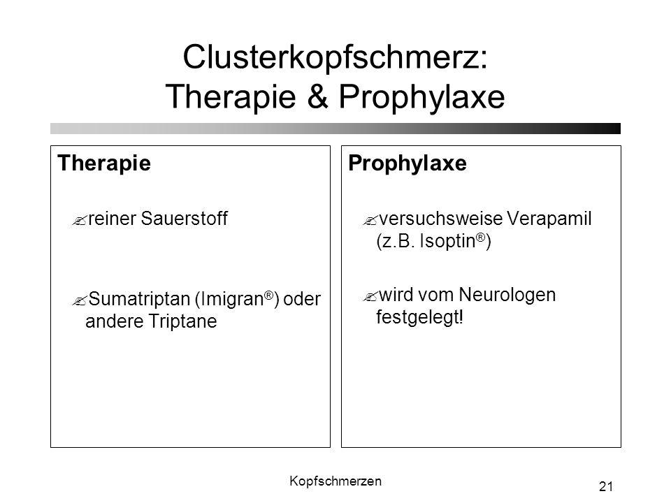 Clusterkopfschmerz: Therapie & Prophylaxe