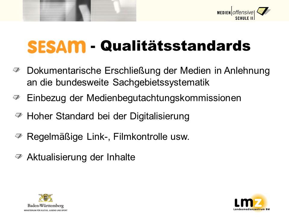 - Qualitätsstandards Dokumentarische Erschließung der Medien in Anlehnung an die bundesweite Sachgebietssystematik.