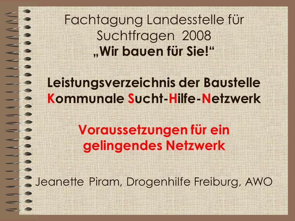 """Fachtagung Landesstelle für Suchtfragen 2008 """"Wir bauen für Sie"""