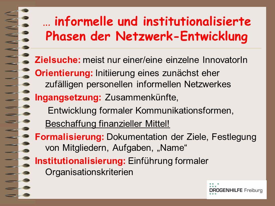 … informelle und institutionalisierte Phasen der Netzwerk-Entwicklung