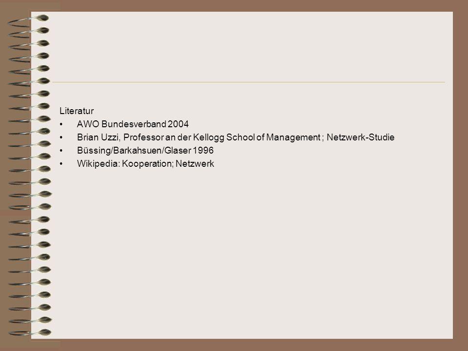 Literatur AWO Bundesverband 2004. Brian Uzzi, Professor an der Kellogg School of Management ; Netzwerk-Studie.