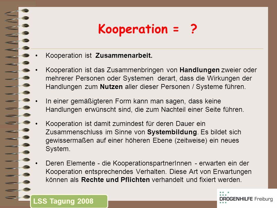 Kooperation = LSS Tagung 2008 Kooperation ist Zusammenarbeit.