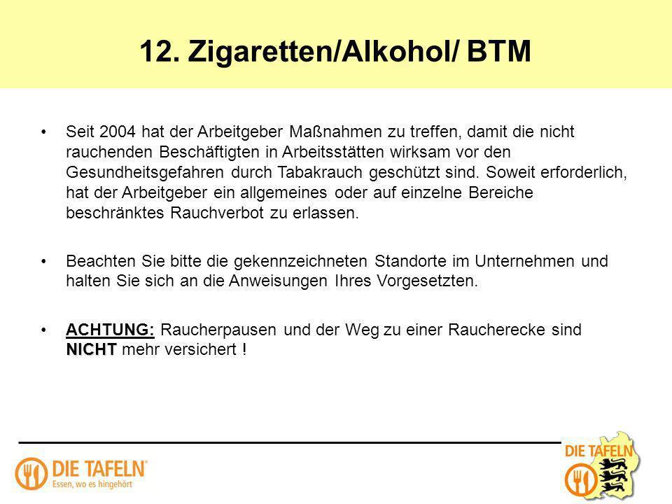 12. Zigaretten/Alkohol/ BTM