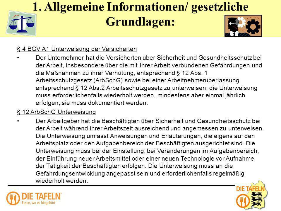 1. Allgemeine Informationen/ gesetzliche Grundlagen: