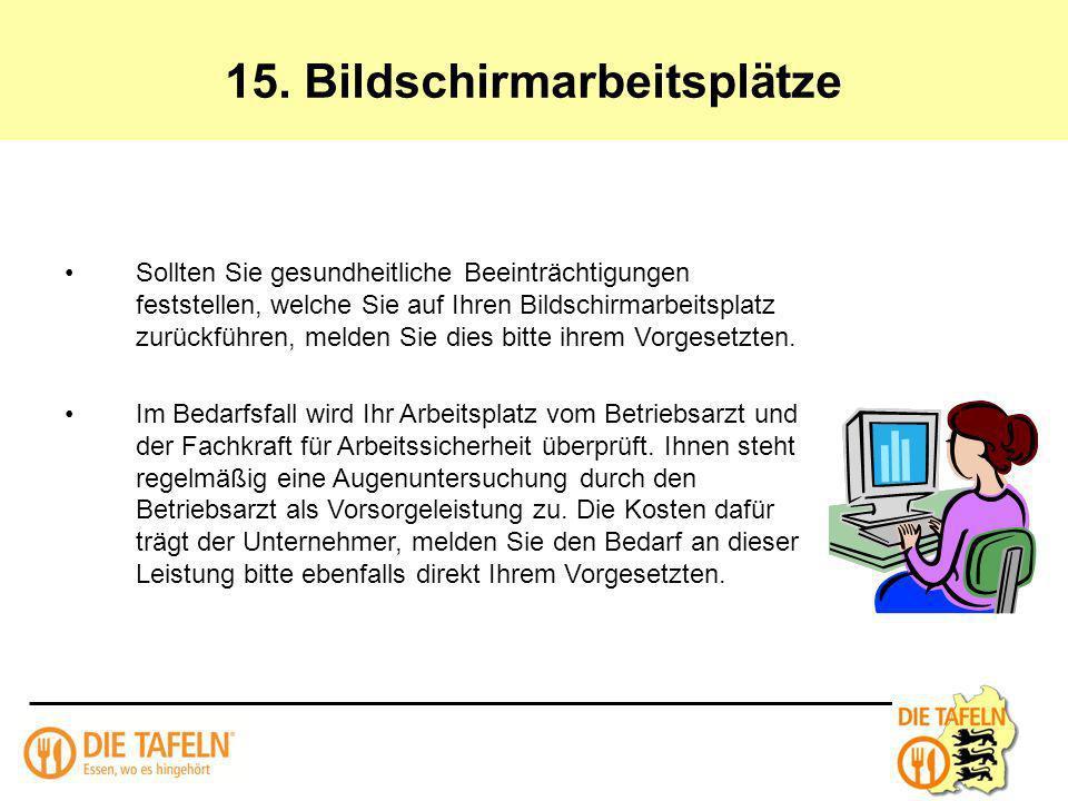 15. Bildschirmarbeitsplätze