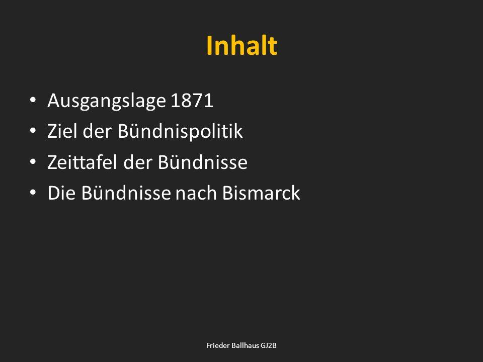 Inhalt Ausgangslage 1871 Ziel der Bündnispolitik