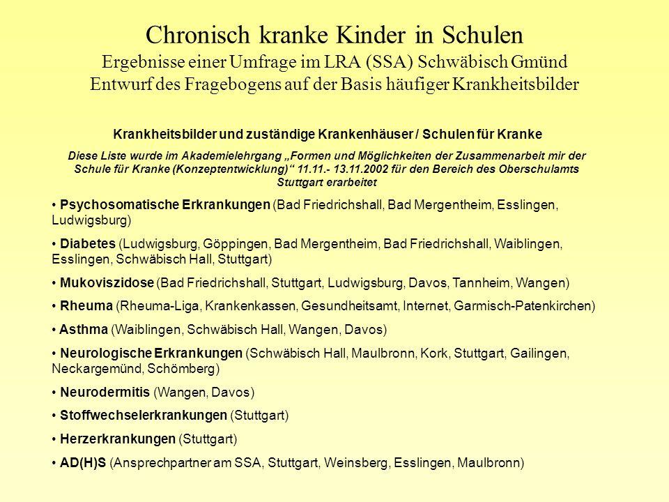 Krankheitsbilder und zuständige Krankenhäuser / Schulen für Kranke