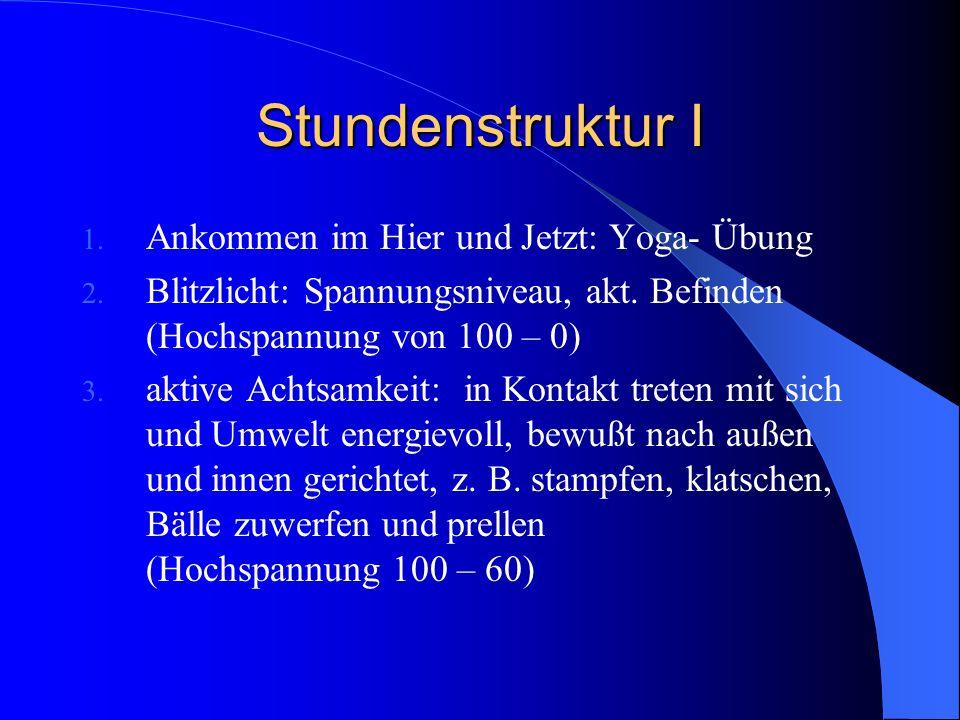 Stundenstruktur I Ankommen im Hier und Jetzt: Yoga- Übung