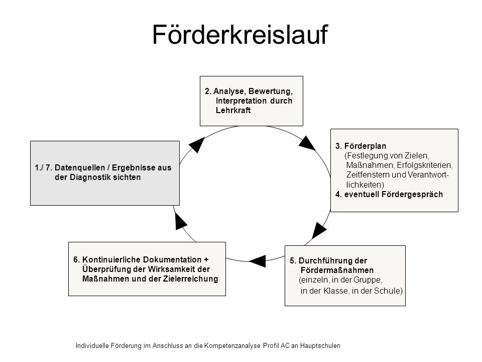 Förderkreislauf 2. Analyse, Bewertung, Interpretation durch Lehrkraft