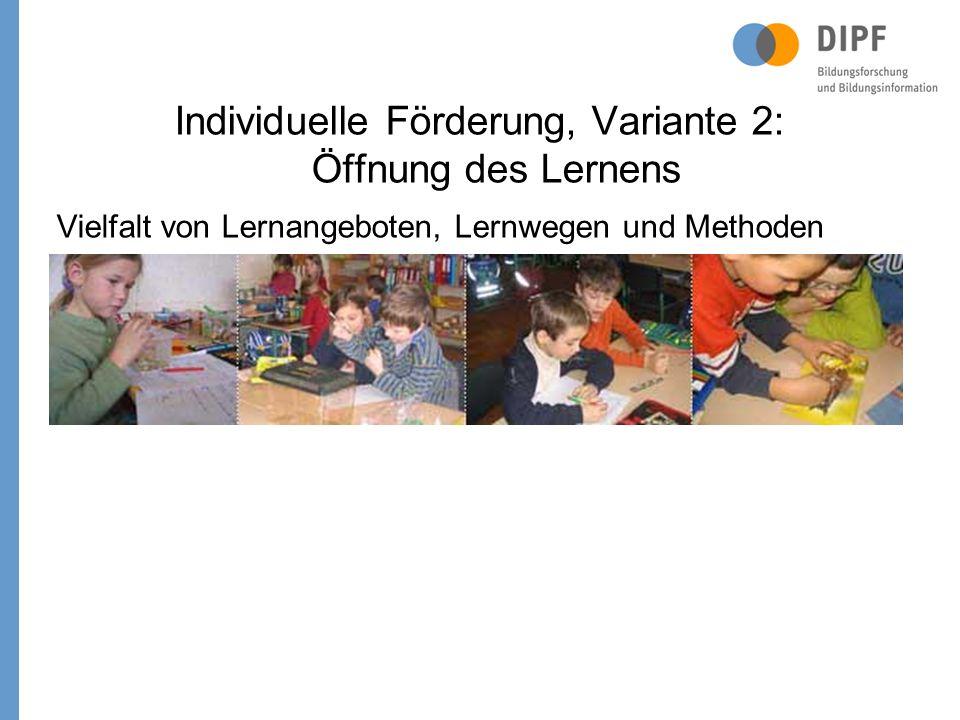 Individuelle Förderung, Variante 2: Öffnung des Lernens