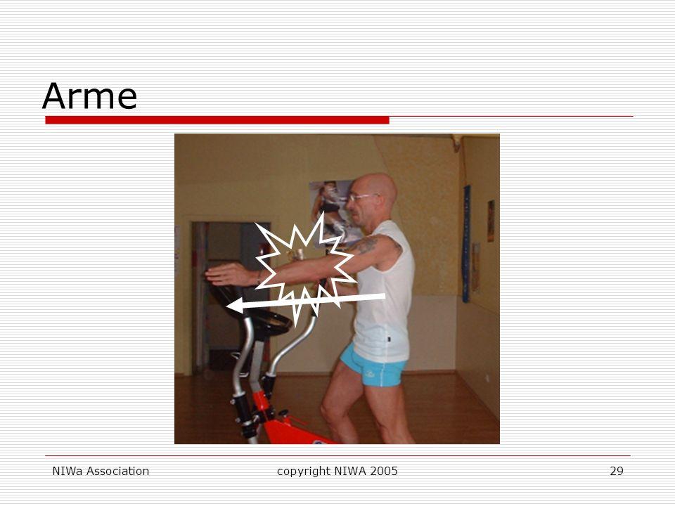 ArmeSchieben offene Hand - Ellbogen fast ganz ausstrecken um den Brustmuskel zu aktivieren. NIWa Association.
