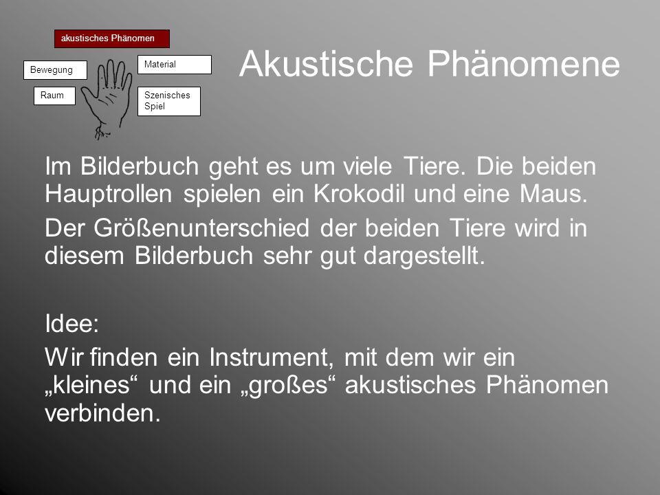 Akustische Phänomeneakustisches Phänomen. Bewegung. Material. Raum. Szenisches Spiel.