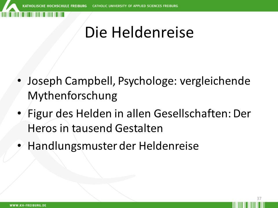 Die HeldenreiseJoseph Campbell, Psychologe: vergleichende Mythenforschung. Figur des Helden in allen Gesellschaften: Der Heros in tausend Gestalten.