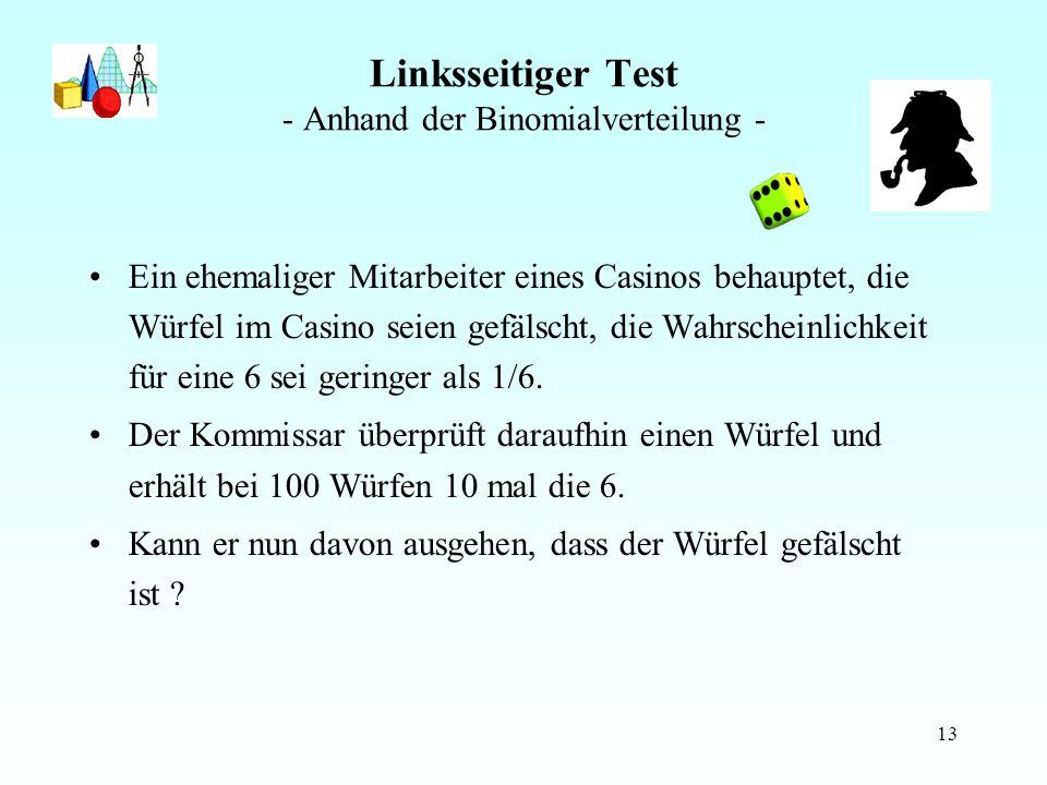 Linksseitiger Test - Anhand der Binomialverteilung -