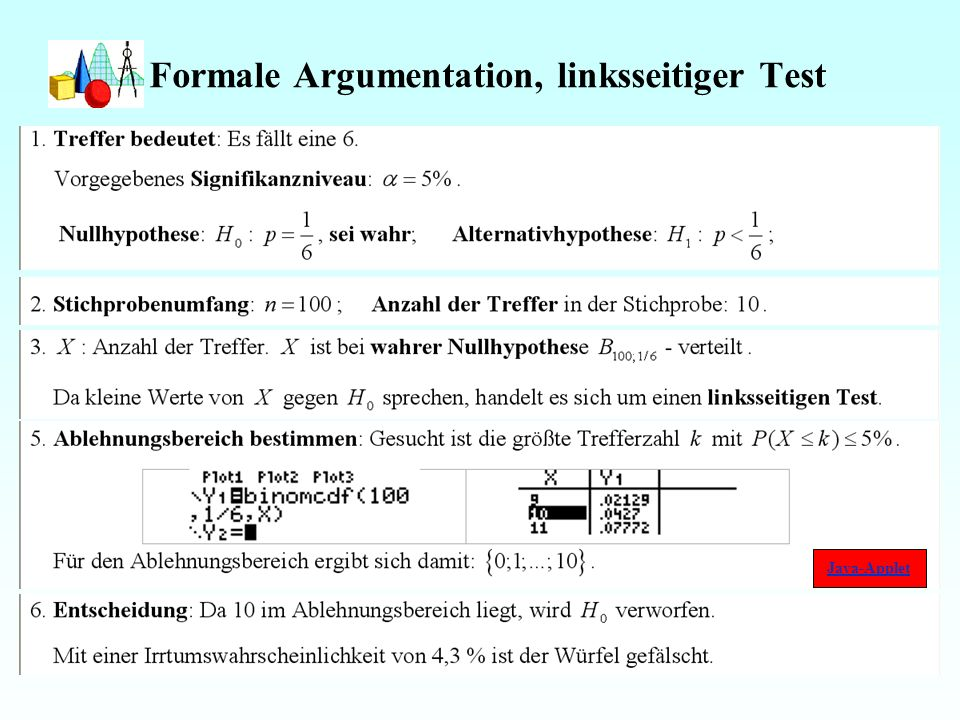 Formale Argumentation, linksseitiger Test