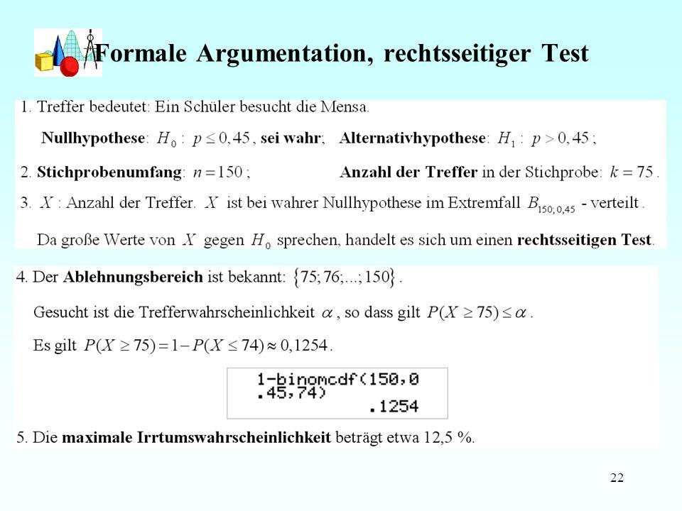 Formale Argumentation, rechtsseitiger Test
