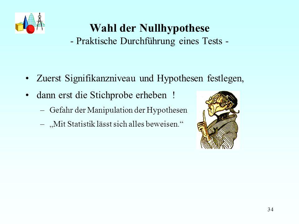 Wahl der Nullhypothese - Praktische Durchführung eines Tests -