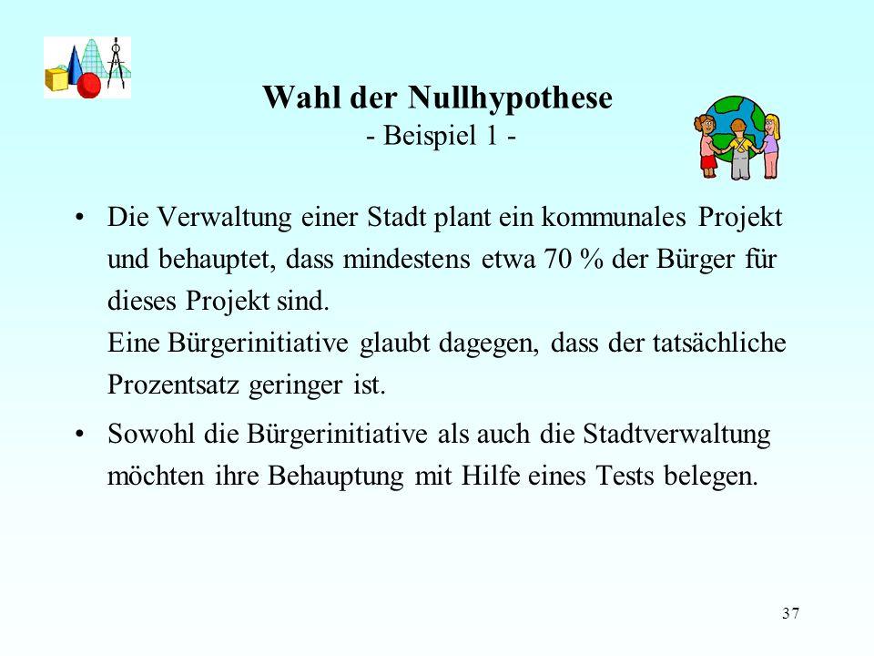 Wahl der Nullhypothese - Beispiel 1 -