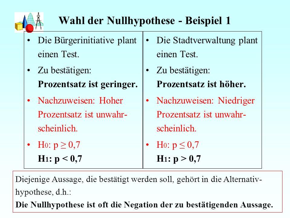 Wahl der Nullhypothese - Beispiel 1