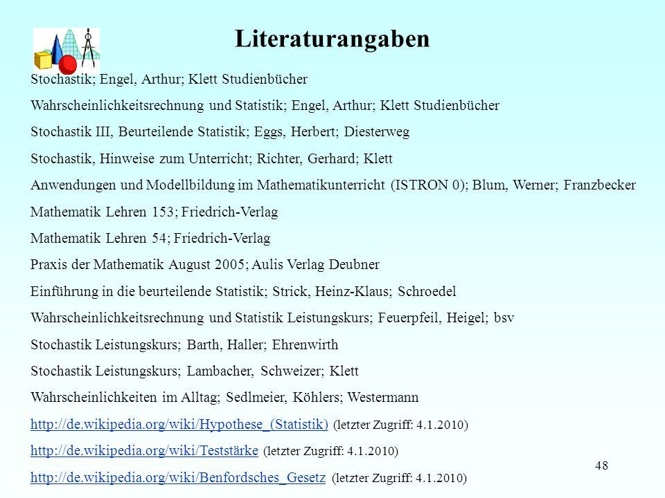 Literaturangaben Stochastik; Engel, Arthur; Klett Studienbücher