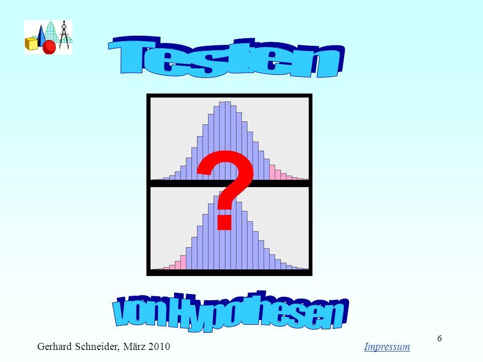 Testen von Hypothesen Gerhard Schneider, März 2010 Impressum
